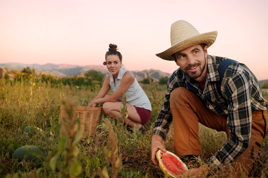 Woman crouching by basket while looking at man holding watermelon in farm
