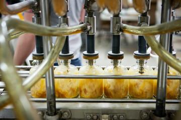 Close-up of distillation process in distillery