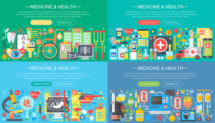 Medicine and health horisontal flat concept design banners set. Herbal treatment, healthcare, homeopathy, pharmacy, Medical Tests, drugs and pills vector illustration.