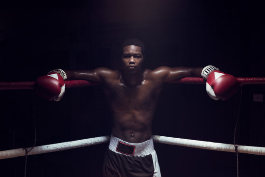 Portrait of boxer leaning while standing in boxing ring