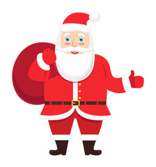 Santa Claus vector giving thumb up hand Christmas isolated on white background