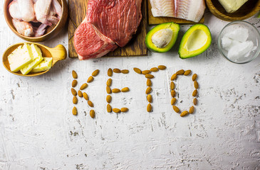 Foto op Plexiglas Assortiment Keto diet concept. Ketogenic diet food. Balanced low-carb food background.