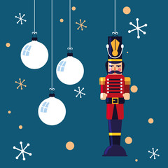 nutcracker soldier toy with balls of christmas