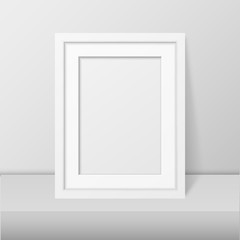 Vector 3d Realistic Modern Interior White Blank Vertical A4 Wooden Poster Picture Frame on Table or Shelf Closeup on White Wall, Mock-up. Empty Poster Frame Design Template for Mockup, Presentation
