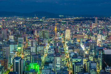 night view of nagoya with nagoya tower in japan