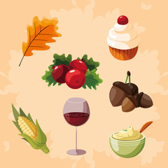 tanksgiving food set icons