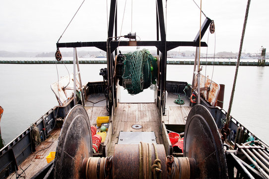 High angle view of fishing boat moored on sea
