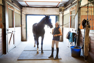 Happy woman looking at horse in stable