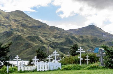Russian Orthodox Holy Ascension of Our Lord Graveyard in Dutch Harbor Unalaska