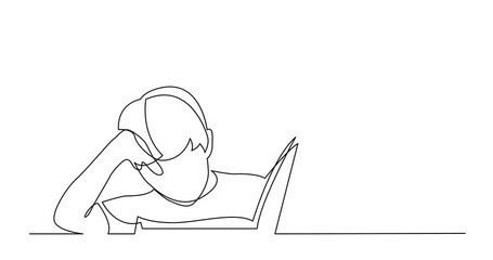 Wall Mural - Self Drawing Line Animation of continuous line drawing of boy reading book