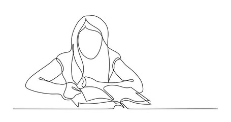 Wall Mural - Self Drawing Line Animation of continuous line drawing of girl reading book