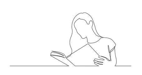 Wall Mural - Self Drawing Line Animation of continuous line drawing of long hair woman reading book
