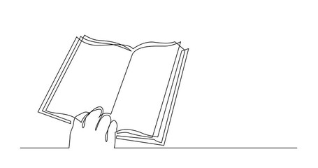 Wall Mural - Self Drawing Line Animation of continuous line drawing of human hand holding book