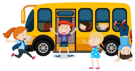 Children on a school bus