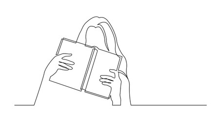 Wall Mural - Self Drawing Line Animation of continuous line drawing of shy young woman hiding her face behind book