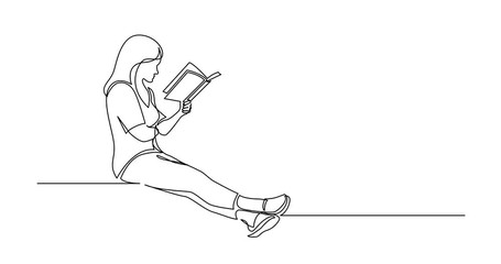 Wall Mural - Self Drawing Line Animation of continuous line drawing of sitting concentrated woman reading interesting book