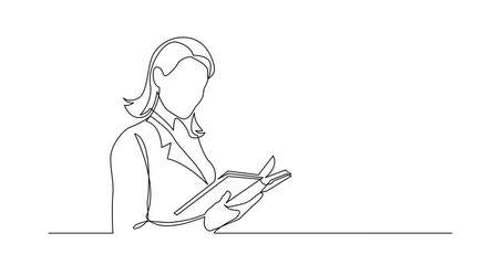Wall Mural - Self Drawing Line Animation of continuous line drawing of business woman reading book