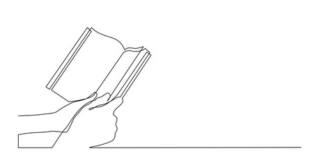 Wall Mural - Self Drawing Line Animation of continuous line drawing of two hands holding book