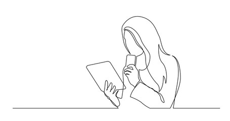 Wall Mural - Self Drawing Line Animation of continuous line drawing of woman holding mobile phone reading tablet