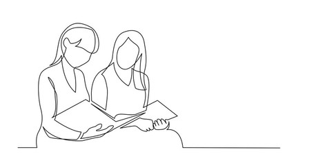 Wall Mural - Self Drawing Line Animation of continuous line drawing of two young women reading book