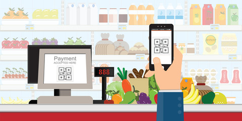 Hand holding smartphone to scan QR code payment in supermarket.
