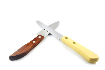 kitchen knife isolated / two steel of kitchen knifeon for chef slice isolated on white background