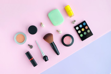 fashion professional makeup accessories equipment attractive fashion woman .on white background