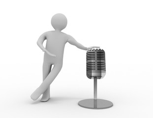 3d man with a microphone . 3d rendered illustration