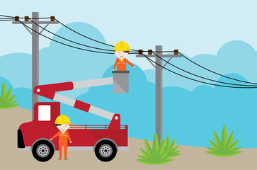 electrician on picker car crane and working with electricity post.