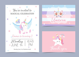 Pastel birthday invitation with unicorn,head,rainbow,frame and star