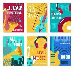 Jazz festival, live music concert vector poster, flyer, card set