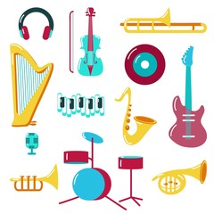 Music icon set vector flat style illustration