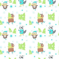 Vector seamless pattern with cute ice skating animals