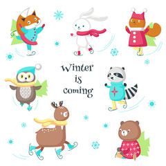 Cute animals ice skating vector isolated illustration