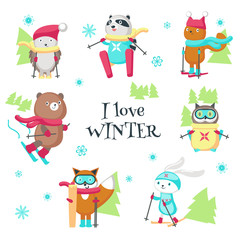 Cute animals skiing in winter vector isolated illustration