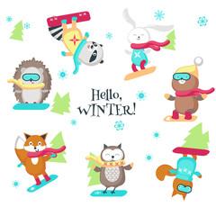 Cute animals enjoying snowboarding vector isolated illustration