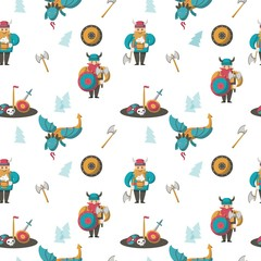 Vector seamless pattern with vikings and dragons