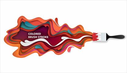 Paint brush stroke vector paper cut illustration