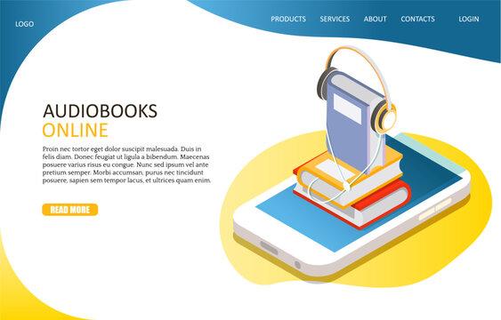 Audiobooks online landing page website vector template