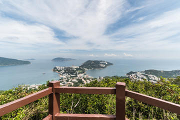 Viewpoint over the Stanley town from the Wilson hiking trail in the hills in the south of Hong Kong island in China. Wall mural