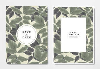 Greenery wedding invitation card template design, green and black leaves with circle and rectangle frames on light brown, vintage style