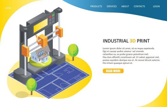 3D printing process landing page website vector template