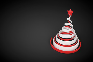 Abstract festive spiral christmas tree made of white and red ribbons with star. 3d render illustration on black background.