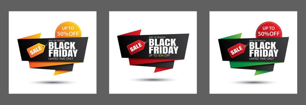 Set of black friday sale banner template isolated on white background. Use for poster, shopping, promotion, advertising.