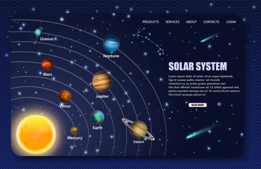Solar system landing page website vector template