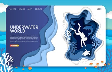 Vector paper cut underwater world landing page website template