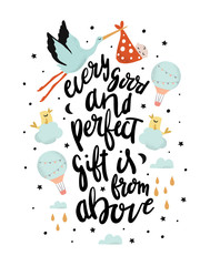 Every Good and Perfect Gift is from Above. Nursery Prints. Baby Wall Art Poster