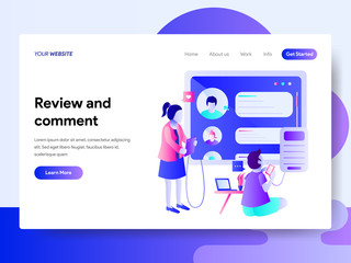 Landing page template of Review and Comment Concept. Modern flat design concept of web page design for website and mobile website.Vector illustration