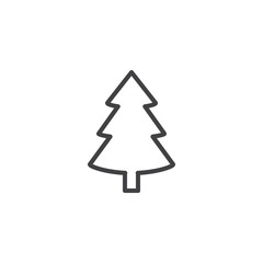 Xmas spruce tree outline icon. linear style sign for mobile concept and web design. Fir tree simple line vector icon. Symbol, logo illustration. Pixel perfect vector graphics