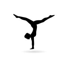 Black Silhouette of a gymnast woman icon or logo